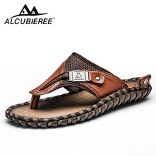 Brand Men's Flip Flops Genuine Leather Luxury Slippers Beach Casual Sandals Summer for Men Fashion Shoes New 2018 Big Size 48