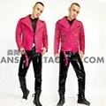 Homens DJ cantor Bigbang GD Pink Glitter Em Pó Da Marca Rebites de Couro Da Motocicleta Jaqueta de Couro Masculino Casaco Trajes Jaqueta M-3XL
