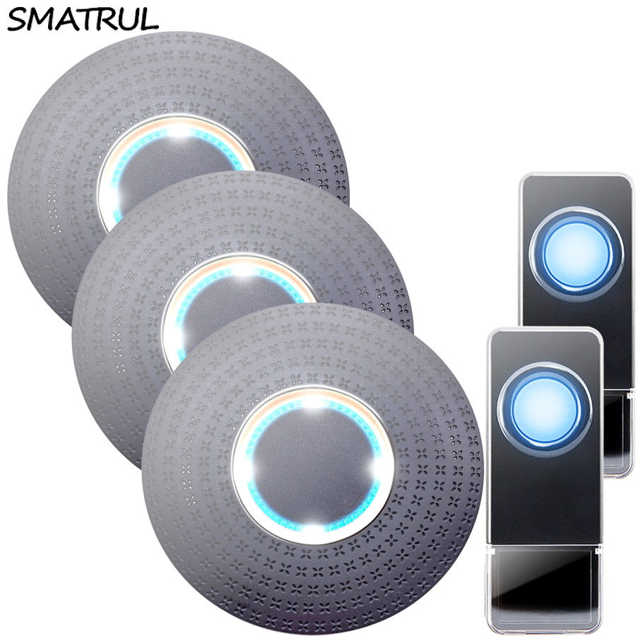 SMATRUL Waterproof Wireless Doorbell EU Plug 300M long range home Door Bell ring call chime 2 button 3 receiver LED light Deaf 10pcs usa import tattoo thermal paper stencil carbon stuff tattoo equipment 3 layer free shipping