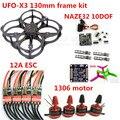 МИНИ DIY UFO-X3 FPV 130 мм Углеродного Волокна Рама Комплект + NAZE32 10DOF + 3030 3 лезвия Пропеллер + 1306 Двигатель + ESC Для FPV Quadcopter