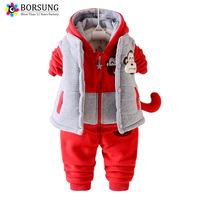 Boys Winter Clothing Set Toddler Boy Warm Down Clothes Kids Hooded Coats Vest Pants Three Pieces