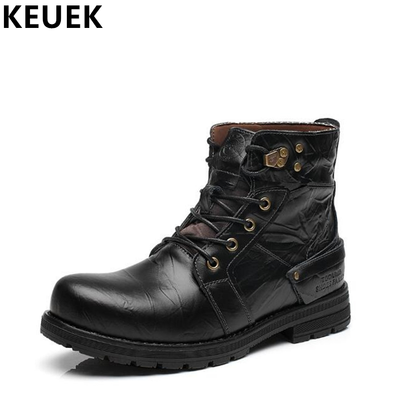 Autumn Winter Men Martin boots Genuine leather Lace-Up Outdoor tooling boots Male Ankle Snow boots Classic Motorcycle boots 033 z suo brand autumn winter men s genuine leather tooling boots lace up brush off cow leather handmade men ankle boots