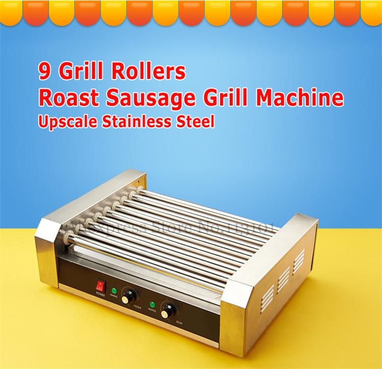 Hot Dog Roller Qualidade Comercial Aço Inoxidável Máquina de Grelhar Rolos Hotdog Maker com 9 Grelha