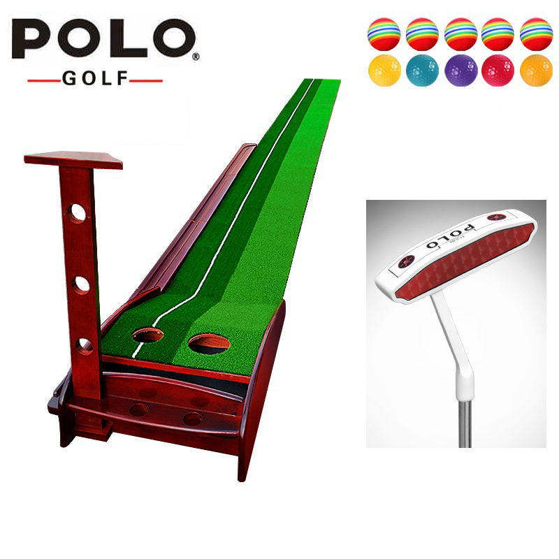 POLO wood Indoor Golf Putter Trainer Practice Set Training Mat indoor mini golf putting green indoor golf simulator set practice crestgolf indoor golf mats putting green golf practice green golf training aids with artificial turf and blanket for choice