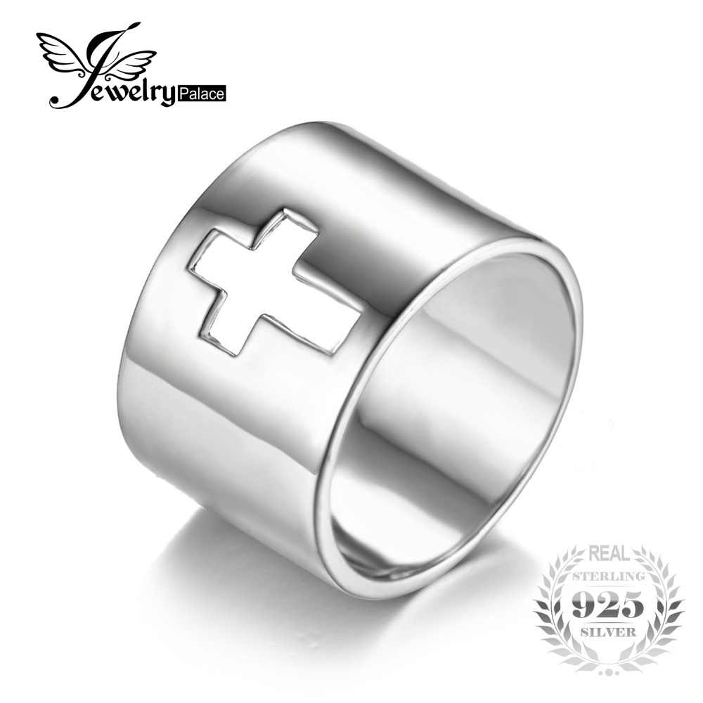 JewelryPalace Genuine 925 Sterling Silver Anniversary Wedding Band Cross Promise Classic Ring New For Women Fine Jewelry