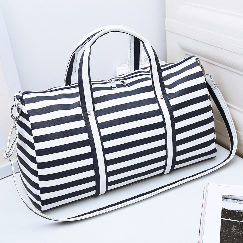 26L European Style Simple Stripe PU Travel Single Shoulder Bag Oblique Cross Package Handbag Beach Bolso Women Travel Bags