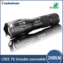 100% Authentic CREE XM-L T6 E17 2400 Lumens 5-Mode LED Flashlight Zoomable Focus Torch by 1*18650 or 3*AAA