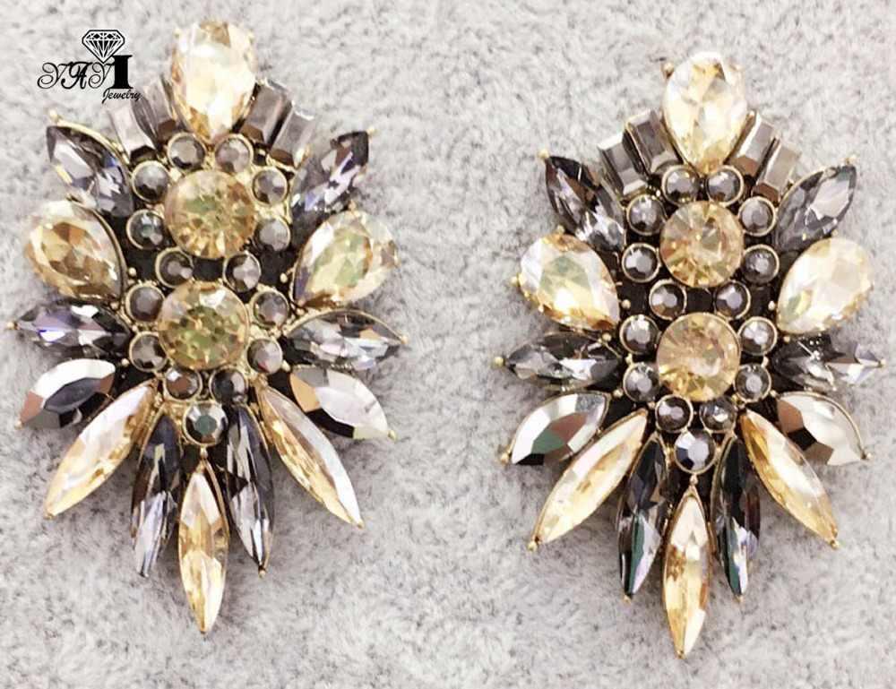 Yayi Perhiasan Fashion Kaca Coklat Berlian Imitasi Menjuntai Anting-Anting Kristal Wanita Kuno Warna Emas Permata Anting-Anting Hadiah