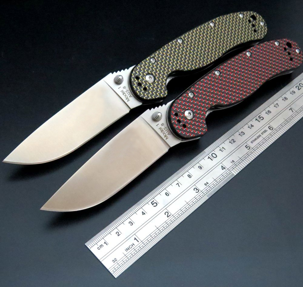 Newest RAT Folding Blade Knife D2 Blade Carbon Fiber Handle Tactical Knife Survival Camping Knives High quality knife [randomtext category=