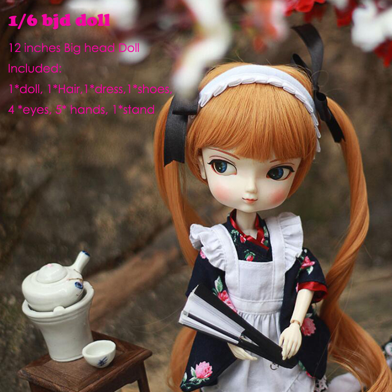 1/6 BJD doll Girl SD doll Joint body With Bangs Realistic Toy 12 inches Princess Dolls with dress 4 eyes 5 hand  free make up 60pcs set women lady girl black metal waved hair bobby clip salon pin grip hairpin barrette hair styling accessories tools