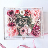Cocostyles personalized rustic flower acrylic ring box with gold engraving logo for forest wedding gift box
