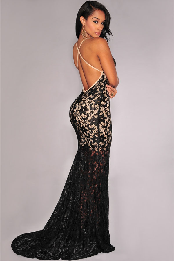 7f17cbde59a Deep Plunge Backless Lace Nude Illusion Long Dress Crisscross Back Dress  Evening Party black lace mermaid gown mermaid dress-in Dresses from Women's  ...