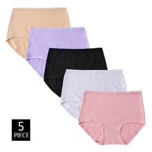 5PCS/Lot Cotton Middle Waist Women Solid Panties 4XL Large Size High Elasticity Seamless Lady Underwear Simple Plus Size Breifs(China)