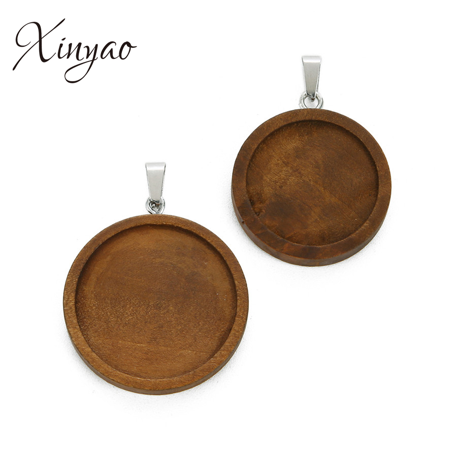XINYAO 10Pcs Brown Color Wood Cabochon Base Setting 25/30mm Dia Round Stainless Steel Blank Pendant Trays Diy Necklace Findings