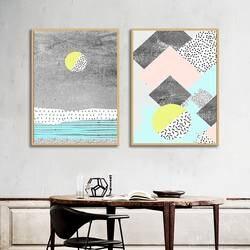 Плакаты на скандинавскую тему и печатает абстрактный модульная Картина на холсте настенные панно для гостиная современные украшения дома