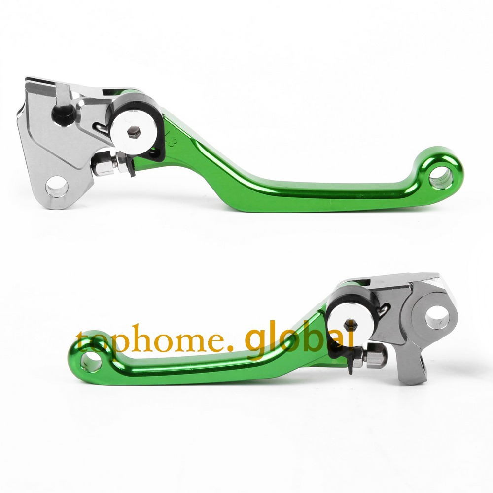 One Pair CNC Pivot Dirtbike Brake Clutch Levers For Kawasaki KX250F 2013 - 2017 Green Color 2014 2015 2016