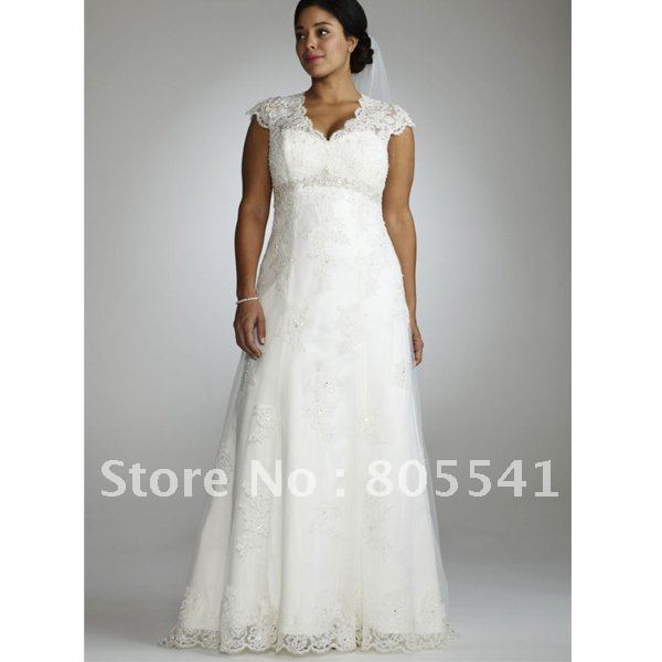 Free shipping designer cap sleeve lace over satin gown for Plus size illusion wedding dress