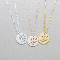 10pcs Leaf Round Collar Delicate Necklace Tree Of Life Pendant Stainless Steel Collares Vintage Necklace Tattoo Choker