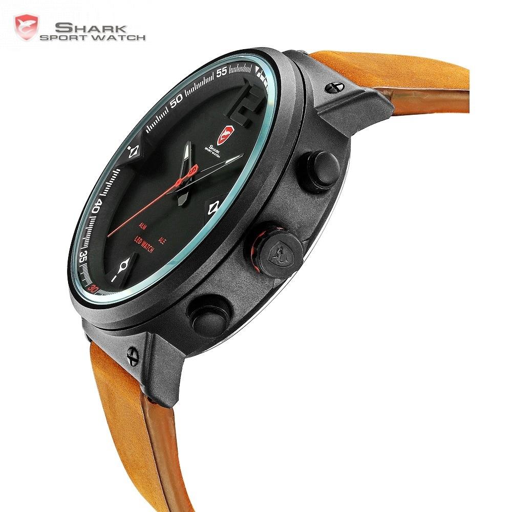 Bluegray Tapijt Haai Sport Horloge mannen Quartz Digitale Analoge LED Militaire Dual Time Display Horloges Relogio Masculino/SH546