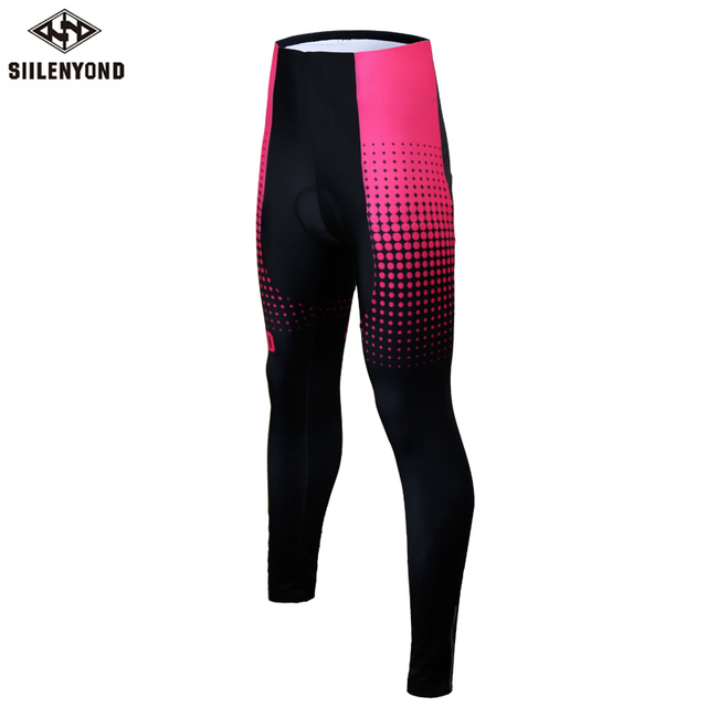 Siilenyond 2019 Pro Women Winter Thermal Cycling Pants MTB Bicycle Cycling Tights Mountain Bike Trousers With 3D Gel Padded
