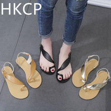 HKCP Fashion 2019 summer new casual pin-to-low low-set foot sandals female word buckle flat C393
