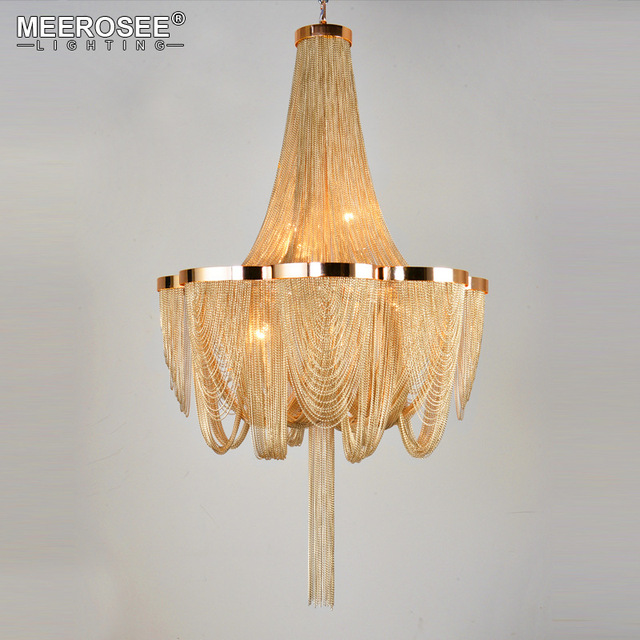 French Empire Chandelier Post Chain Aluminum Suspension Light Hanging Drop Lustre for Living room Hotel Project Lights