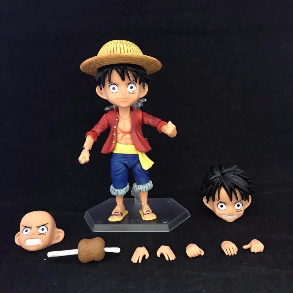 One Piece Monkey D Luffy Nendoroid PVC Action Figures 100mm Anime One Piece Luffy Zoro Sanji Nendoroid Model Toy Doll