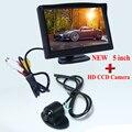 Бесплатная доставка 5 дюймов TFT LCD цветной автомобильный монитор заднего вида видео вход + задний вид автомобиля камера акция
