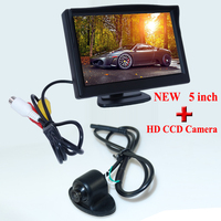 Free Shipping 5 inch TFT LCD Color Car Rearview Monitor Video Input + Car Reverse Rear View Camera Promotion