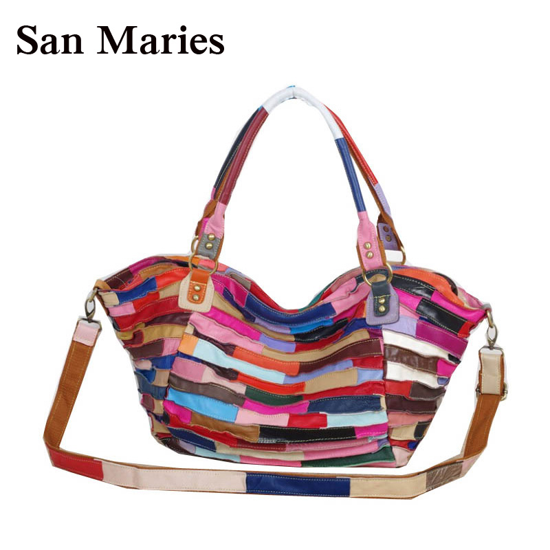 Wholesale Women Messenger Bags Designer Genuine Leather Handbag Brand Sheepskin Large Tote Bag-in Shoulder Bags from Luggage & Bags    1