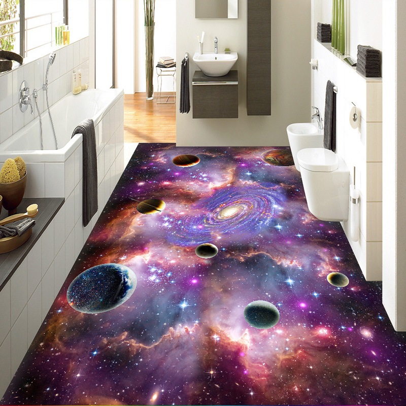 Custom Modern Fantasy 3D Cosmic Sky Galaxy Floor Wallpaper 3D Room Landscape Bathroom Waterproof Kitchen Vinyl Wall Paper Murals