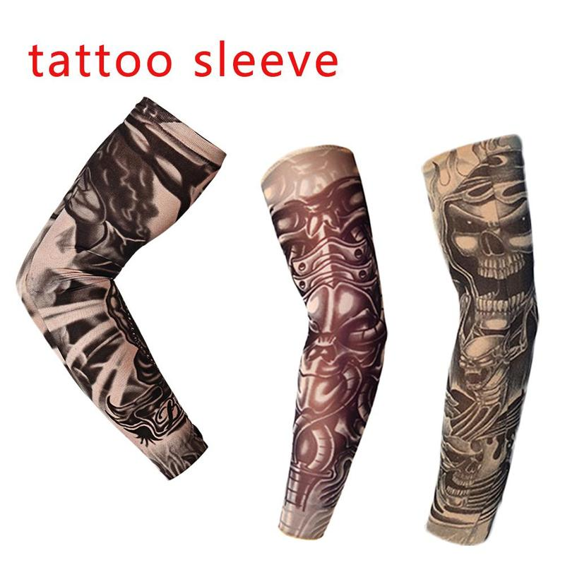 About 47cm Tattoo Sleeves Arm Warmer 3 Colors Unisex Uv Protection Outdoor Temporary Fake Tattoo Arm Sleeve Warmer Sleeve Mangas