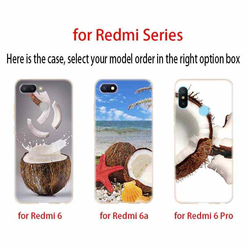 الفاكهة جوز الهند على الشاطئ غطاء لينة سيليكون TPU حالة ل Xiaomi Redmi 3 4X 4a 5 زائد 7a 5a S2 6a 6 ملاحظة 5 6 4 7 5 K20 برو