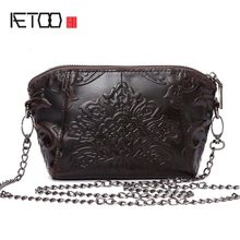 AETOO Vintage Women Bags Messenger Genuine Leather Female Embossed Flower Small Shoulder Bags Chain summer(China)