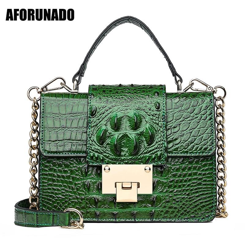 Luxury Handbags Women Bags Designer Famous Brand Crocodile Chain Shoulder Crossbody Bags For Women 2019 Tote Bag Bolsa Feminina