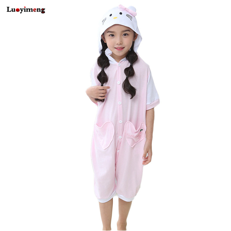 Kids Summer Cotton Pyjamas Unicornio Onesie Stitch Lilo Overalls For Boys Girls Children Onepiece Short Sleeves Hoodie Pajamas ...