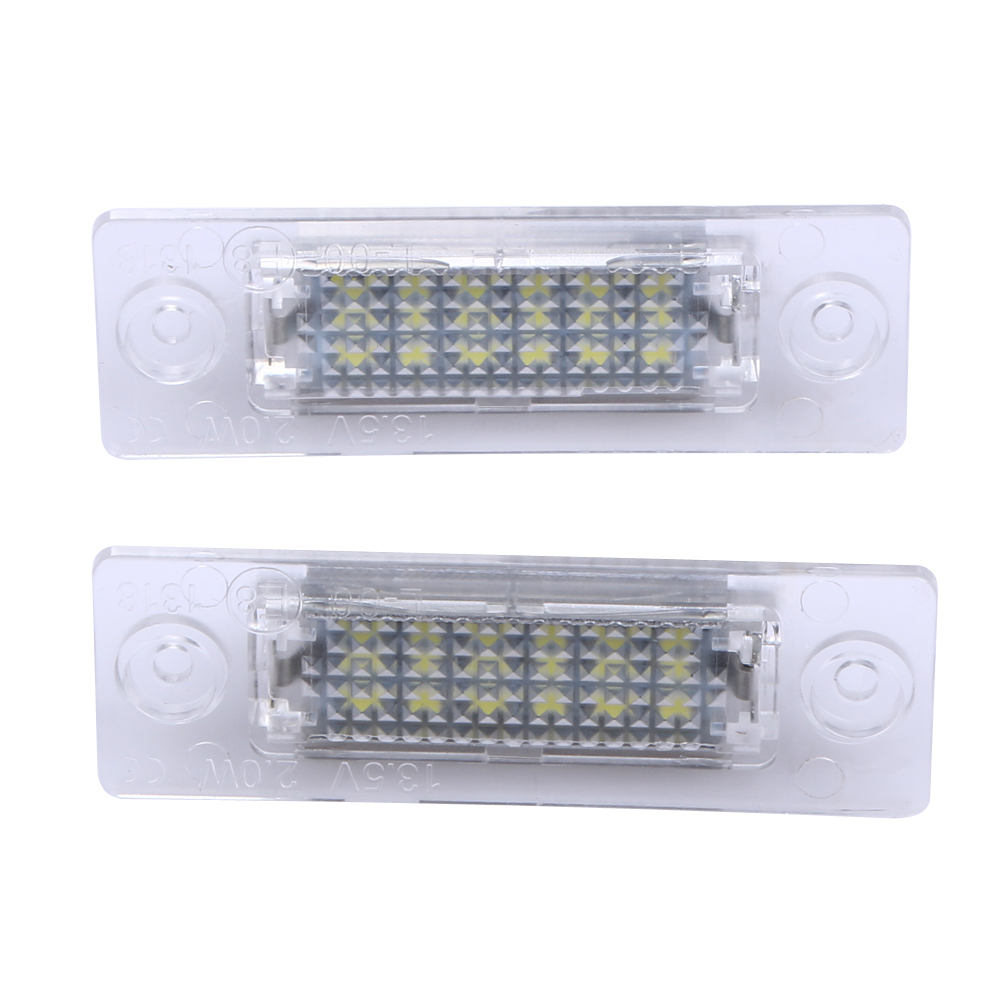 2x License Number Plate Light Lamp 18-LED For VW Caddy Transporter Passat Car License Plate Lights ME3L no error car led license plate light number plate lamp bulb for vw touran passat b6 b5 5 t5 jetta caddy golf plus skoda superb