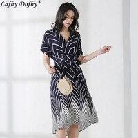 Summer new European and American temperament commute silk waist short sleeve V neck print long stripe large swing dress 204