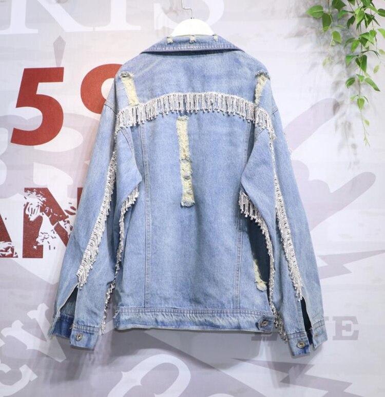Tassel Metal Diamonds Hole Denim Coat Women Long Sleeve Jeans Jacket Streetwear Students Boyfriend Wind Fashion Jeans Coat