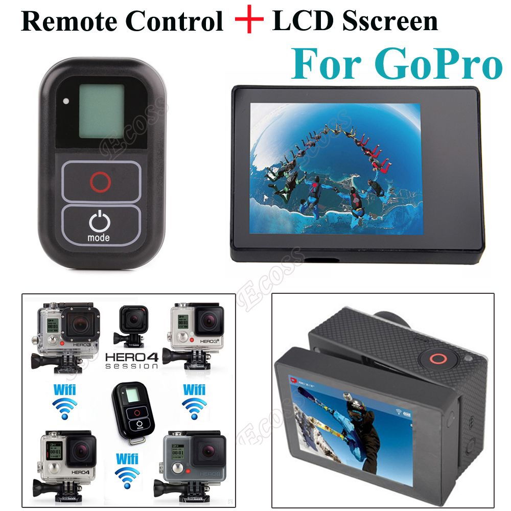 2 IN 1 For GoPro Hero 4 Remote Accessories Smart WIFI Remote Control LCD BacPac Display