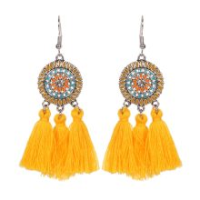 New Sun Flower Tassels Drop Earrings For Women Silver Color Metal Feather Dangle Earrings Party Brincos Bohemia Style Ear Bijoux(China)