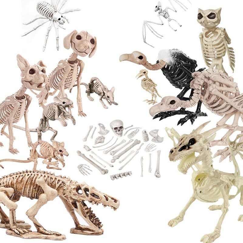 Halloween Skeleton.Halloween Decoration Bone Props Animals Skeleton Ornaments Bat Spider Dragon Bird Bones Hallowmas Horror House Party Decoration