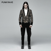 PUNK RAVE Men's Gothic Medium Length Jacquard Jacket Steampunk Retro Men Dress Coat Evening Party Mens Dovetail Trench Coat