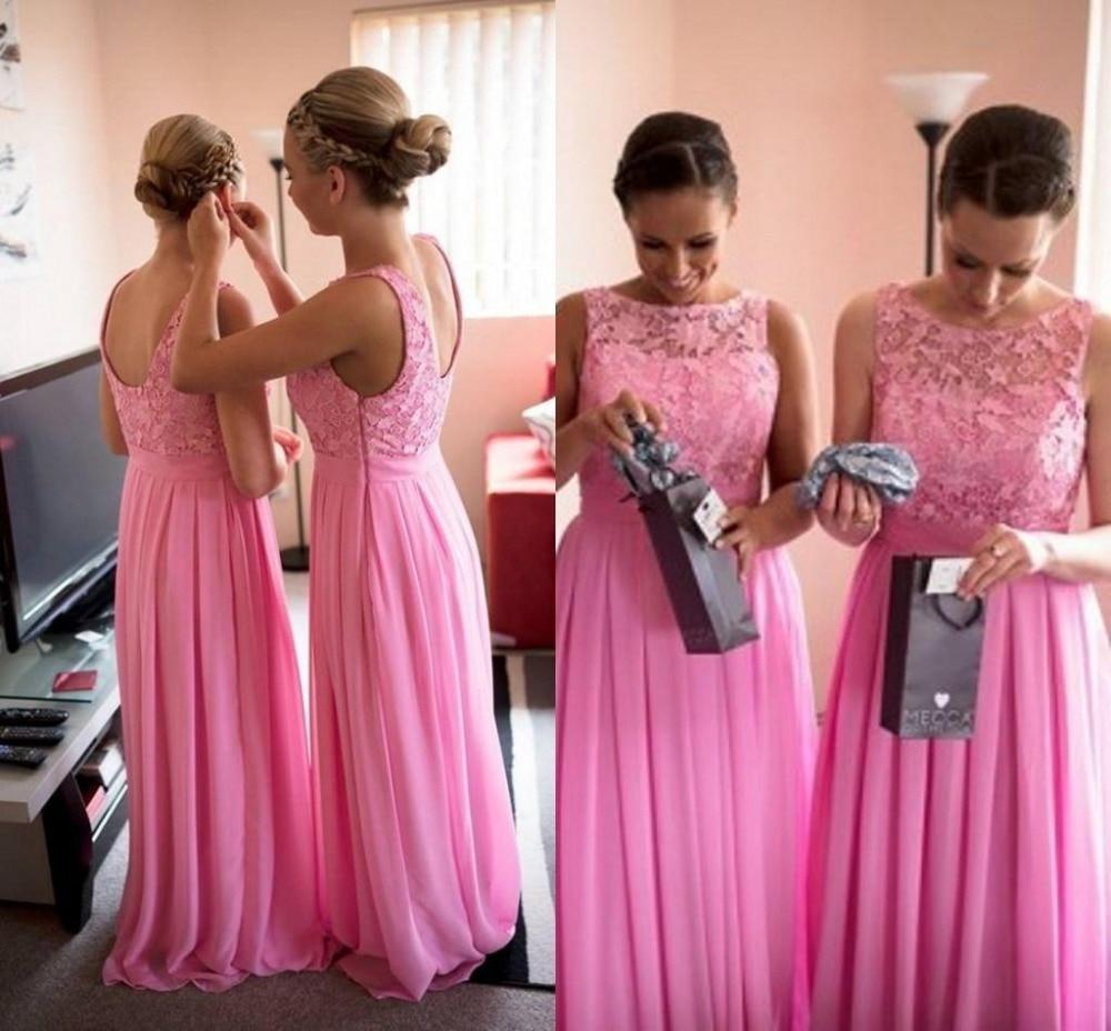 Excepcional Pálidos Vestidos De Dama De Color Rosa De Encaje Friso ...