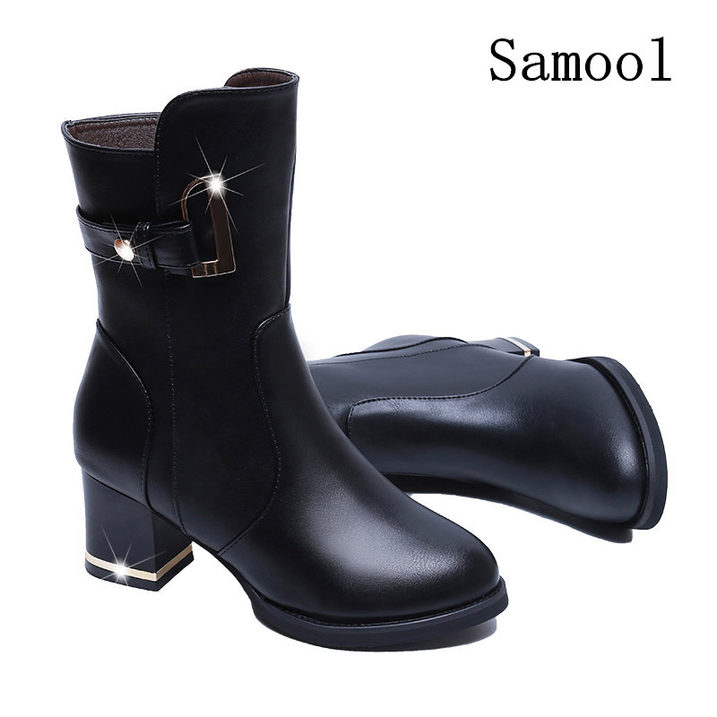 2017 New Fashion Autumn Winter Women Boots High Quality Solid Lace-up European Style Ladies Shoes Genuine Leather Fashion Boots