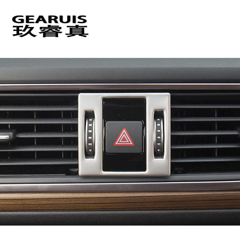 سيارة التصميم لوحة تحذير ضوء الزخرفية غطاء إطاري ملصق تريم لأودي A6 C7 الداخلية اكسسوارات السيارات الفولاذ المقاوم للصدأ
