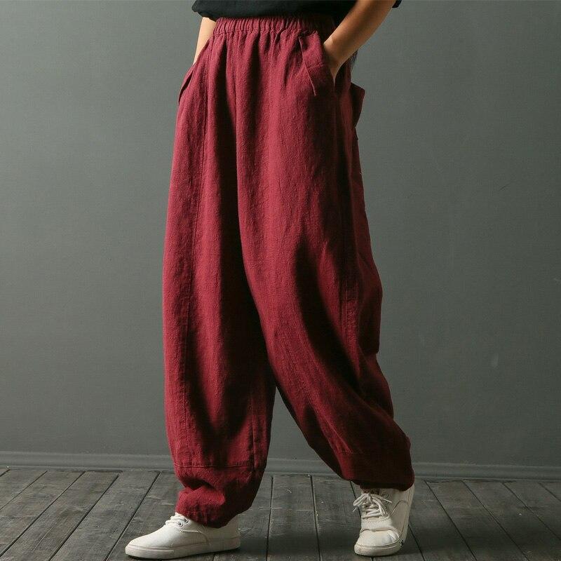 NOUVEAU 2018 Pantalons de Printemps pour les Femmes D'origine Conception Solide Lâche Occasionnel Élastique Taille Linge Défaites Long Harem Pantalon Femelle W3068
