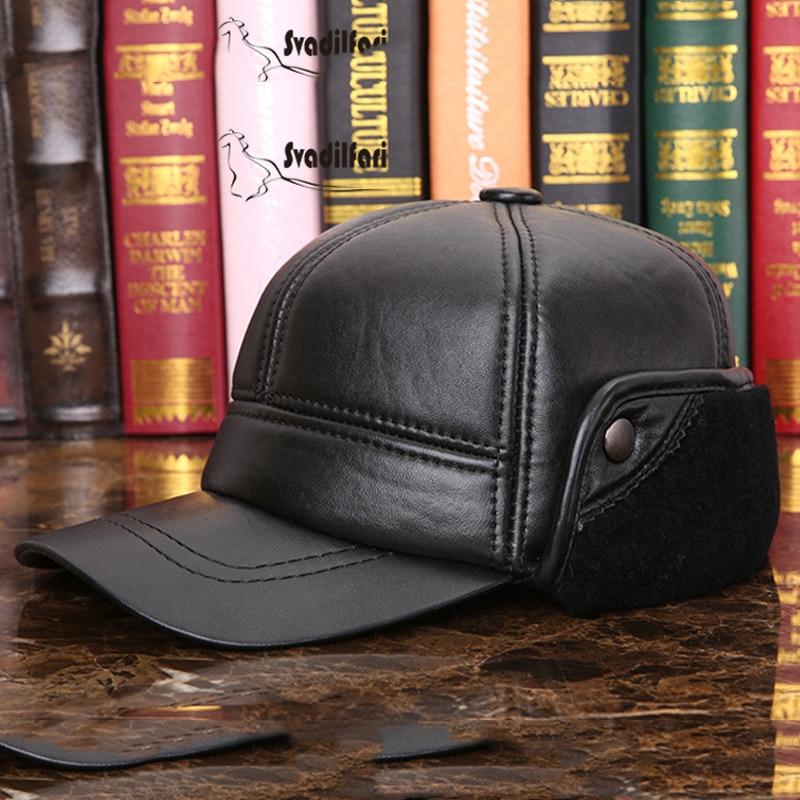 Svadilfari New 2018 Winter Genuine Leather Black Bomber Hat For Men Women Ear Head Warm Moto Caps For Dad Mam Dome Gorras Hombre