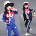 2016 Spring autumn girl sport leisure suit  children's clothes  teenage girl print set girls clothes  11-12 age girl suit  kids