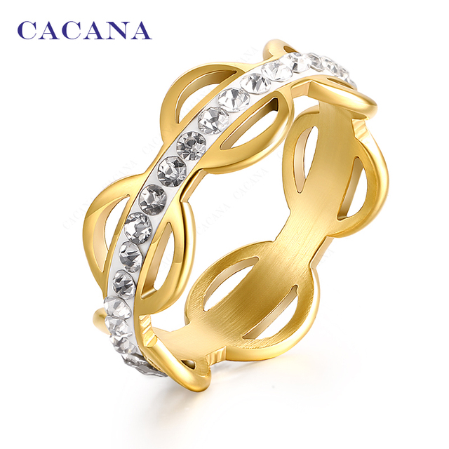 CACANA Titanium Stainless Steel Rings For Women CZ Golden Circle Fashion Jewelry
